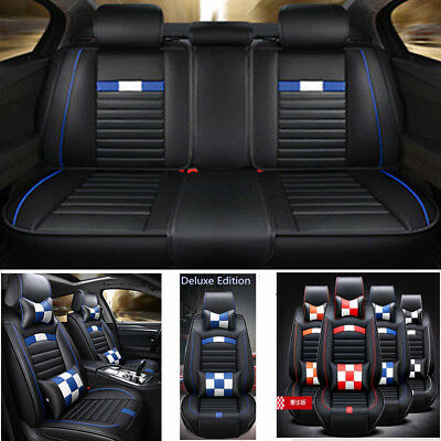 Deluxe PU Leather Car Seat Cover Full Set Front Rear Seat Cushion Mat Protector
