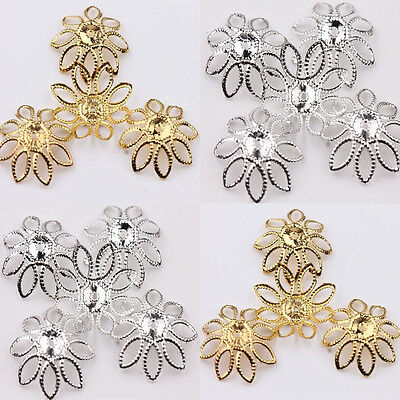 Pretty 50Pcs Golden/Silver Filigree Flower Cone End Bead Caps Charms Crafts DIY