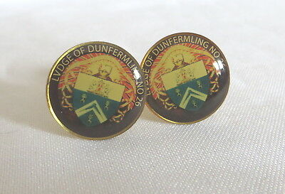 Pair Of Masonic Cufflinks - Lodge Of Dunfermling No 26 (26A)