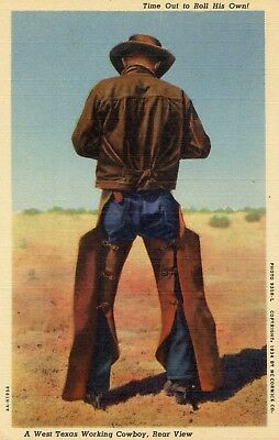 A West Texas working cowboy, rear view, vintage linen postcard, Roll your own