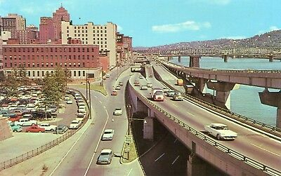 Lots of classic 1950's cars, trucks, etc., vintage postcard, Pittsburgh PA, Blvd