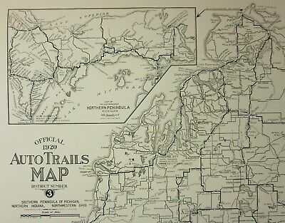 1920 Auto Trails Map Poster Of Early Michigan Roadways And Rivers