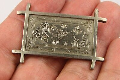 Antique Victorian c1900 bronze and silver plated meadow scene brooch pin