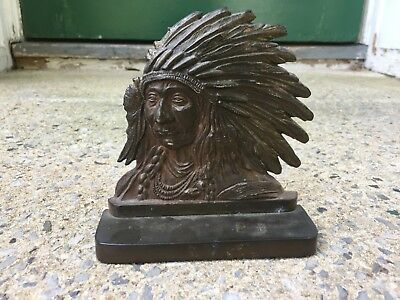 """Single Vintage Native American INDIAN CHIEF Bronze Metal Bookend 269W 6"""""""