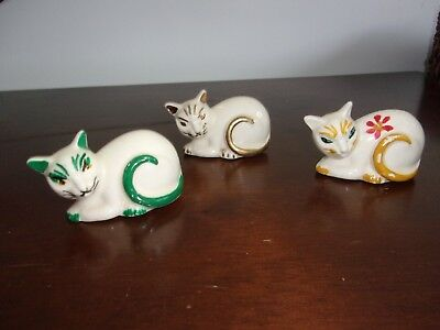 Three 3 Vintage Fiesta Harlequin Ware Maverick Cats Figurines