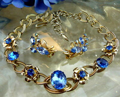 London Blue Glass Rhinestone Gold Tone Link Necklace Large Ab Clip Earrings Lot