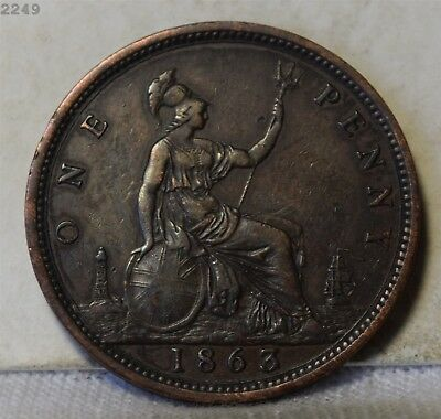 """1863 Great Britain Penny """"XF/AU"""" *Free S/H After 1st Item*"""