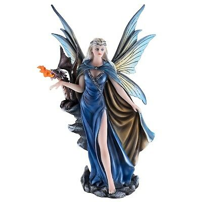 """Blue Cape Fairy With Fire Breathing Dragon Figurine Statue 11.5"""" High New In Box"""