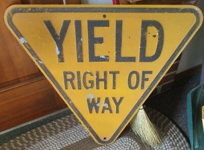 RARE Old YIELD RIGHT OF WAY Embossed Steel YELLOW HIGHWAY STREET SIGN