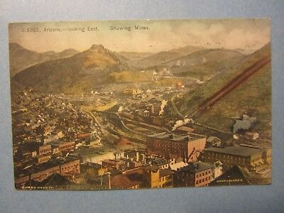 Old Vintage 1909 - BISBEE ARIZONA - POSTCARD - Looking East - Showing MINES