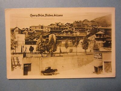 Old Vintage BISBEE ARIZONA - RPPC Photo POSTCARD - Opera Drive / Family Grocery