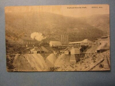 Old Vintage 1909 BISBEE ARIZONA POSTCARD - Shattuck Arizona Shaft - MINE Mining