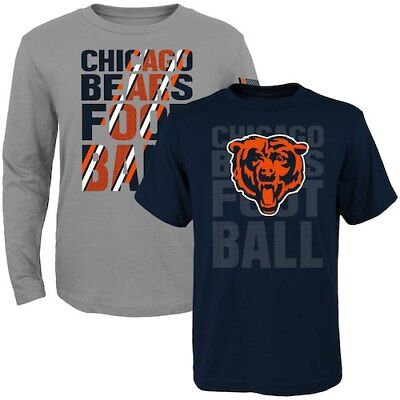 Chicago Bears Toddler Navy/Gray Two-Pack Playmaker Long Sleeve & Short Sleeve