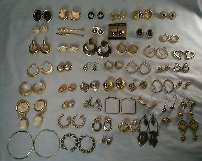 High Quality 48 Pair lot Vintage to New Gold Tone Earring lot Wholesale