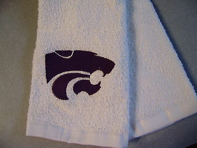 Free personalizing custom made new Machine Embroidered KSU Powercat sports towel