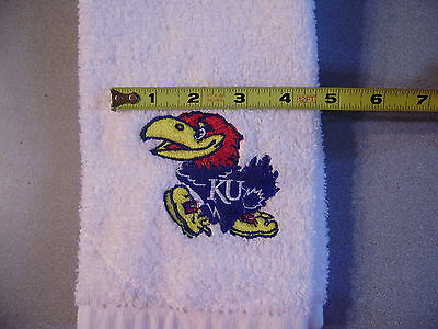 Free personalizing custom made New machine embroidered KU Jayhawk sports towel