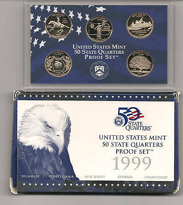 1999-S US Proof Set State Quarter 5 Coin Set in Original Mint Packaging