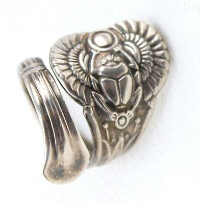 Silver Plated Spoon Ring - ANTIQUE EGYPTIAN Oneida Pattern