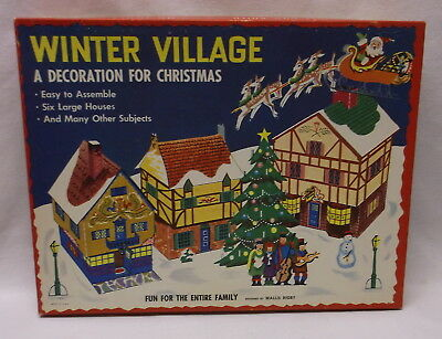 Winter Village Decoration For Christmas Punchout Houses  People Trees