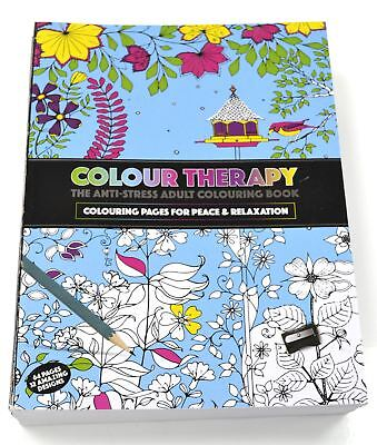 Color therapy anti-stress adult colouring book 64 pages & 32 designs