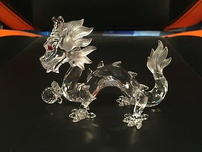 "Red Eyed Lead Crystal Dragon Chinese Styling Display Piece 5.5"" Mint Condition"