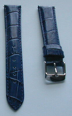 22mm Navy Blue Genuine Leather Watch Band,Strap, Speed Pins Unisex Womens Mens