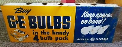 "1950s-60s GENERAL ELECTRIC ""GE BULBS"" Double Sided DISPLAY SIGN"