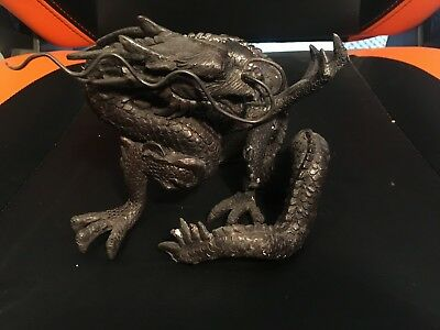 """Chinese Dragon Horned Head Spiked Tail Cast Iron Statue 6.5""""x6"""" HEAVY"""
