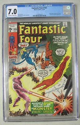 Fantastic Four #105 Cgc 7.0 Oww Pages Marvel Comics 1970 Stan Lee Origin Retold