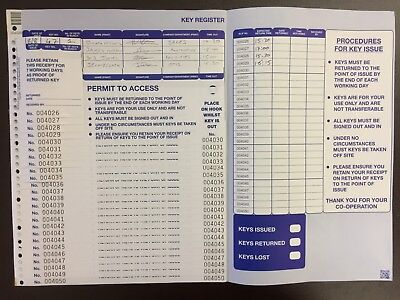 Key Issue Log/Register - Key Control & Permit to Access - REFILL PACK!