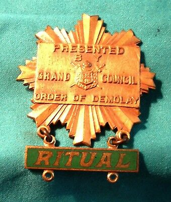 Ritual Medal Presented by The Grand Council of Order of DeMolay!