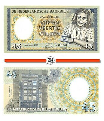 Netherlands, 45 Gulden, 1945, Anne Frank, Specimen, Private, Gabris, Note,