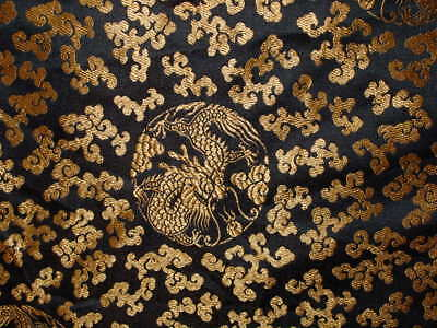 Antique Chinese Black and Gold Silk Brocade Fabric w/Dragons, Clouds and Pearls