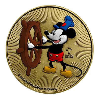 2017 1 Oz Colorized Gold Gilded Silver Disney Mickey Mouse Steamboat Willie Niue