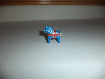 Vtg Miniature Dala Horse Wooden Christmas Ornament Blue Red Cross Estate Find