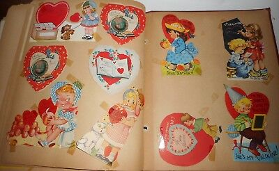 Vintage 1940s Scrap Book Over 50 Pgs Full of Greeting Cards Valentines XMAS MORE