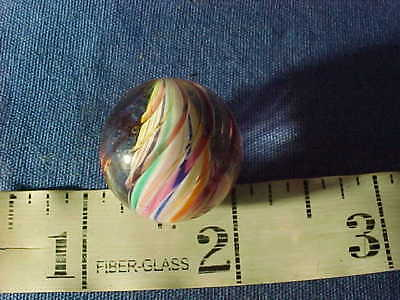 Late 19thc MULTI Color RIBBON CORE Swirl MARBLE 7/8""