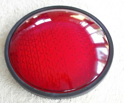 "8"" Red Traffic Light Kopp Glass  8 3/8 Traffic Signal Lens With Gasket NEW"