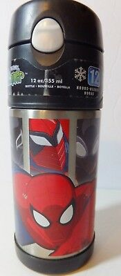 """Thermos Brand Spider-Man Graphics 12 oz. """"Funtainer"""" W/Automatic Straw*Cold/Hot"""