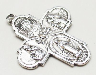 Vintage/Antique STERLING SILVER Catholic Mother Mary Cross Pendant - GORGEOUS!