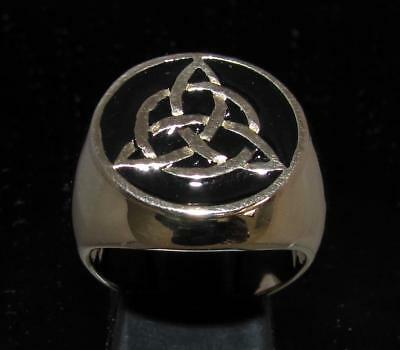 Bronze Mens Costume Signet Ring Celtic Triskele Knot Black Any Size
