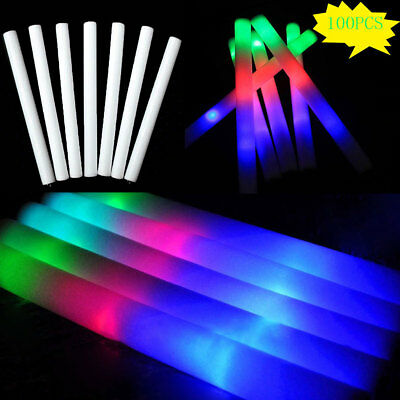 100 PCS Light Up LED Foam Glow Sticks  Wands Rally Rave Batons Flashing Party DJ