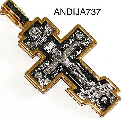 Russian Jewelry. Silver 925 Gold.999 Crucifix Orthodox Spiritual Gift. Blessed !
