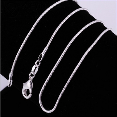 16-38inch 1PCS Wholesale Sterling Solid Silver 1mm Snake Chain Necklace Fashion