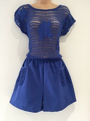 Vintage 80's Deadstock Blue Crochet Bodice Short Sleeve Shorts Play Suit Size 12