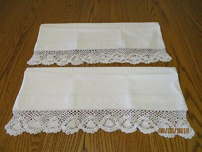 Vintage white cotton pillowcases with crochet standard size