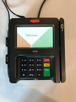 INGENICO iSC250 CC TERMINAL W/ STYLUS, USB INTERFACE CABLE & POWER ADAPTER