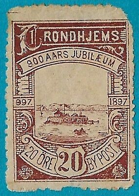 + 1897 Trondhjems Norway Local Private Post S/A#45 20o Commemorative 900th Year
