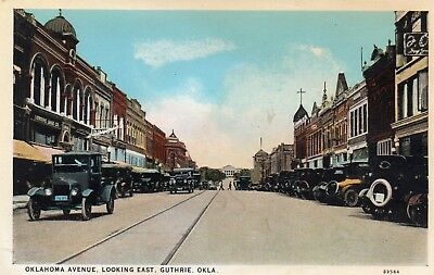 Early Old Style Autos On Oklahoma Avenue Looking East ~ Guthrie Ok