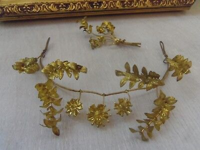 beautiful small wedding headband from 1920s Germany antique vintage tiara golden